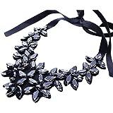 YAZILIND Flower Ribbon Kette Halskette Anhänger Bib Crystal Elegante Halsreif Klobige Kragen Frauen Schmuck