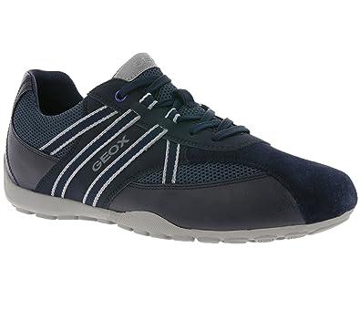 63cc9b16531f Geox U743FB Uomo Ravex Sportlicher Herren Sneaker, Schnürhalbschuh,  Freizeitschuh, Atmungsaktiv Blau (Navy