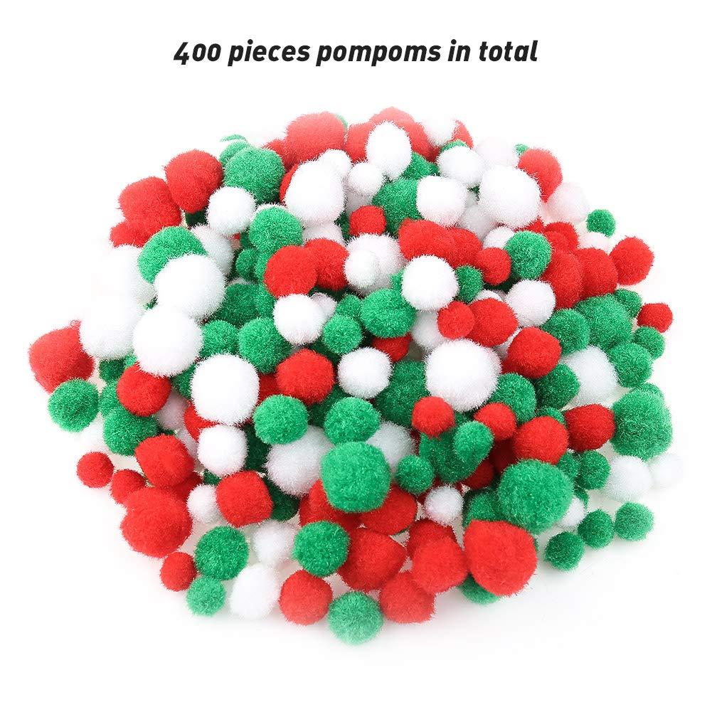 Tagaremuser 400 pon pon natalizi assortiti pon pon pon pon palle natalizie per fai da te e decorazioni 3 misure