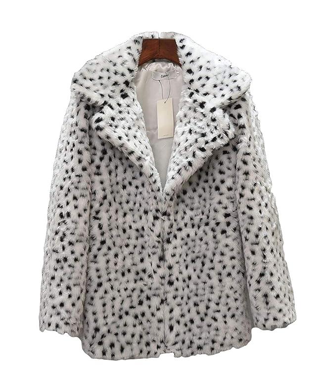 Women's Leopard Faux Fur Coat Vintage Warm Long Sleeve Parka Jacket Outwear (Small, White)