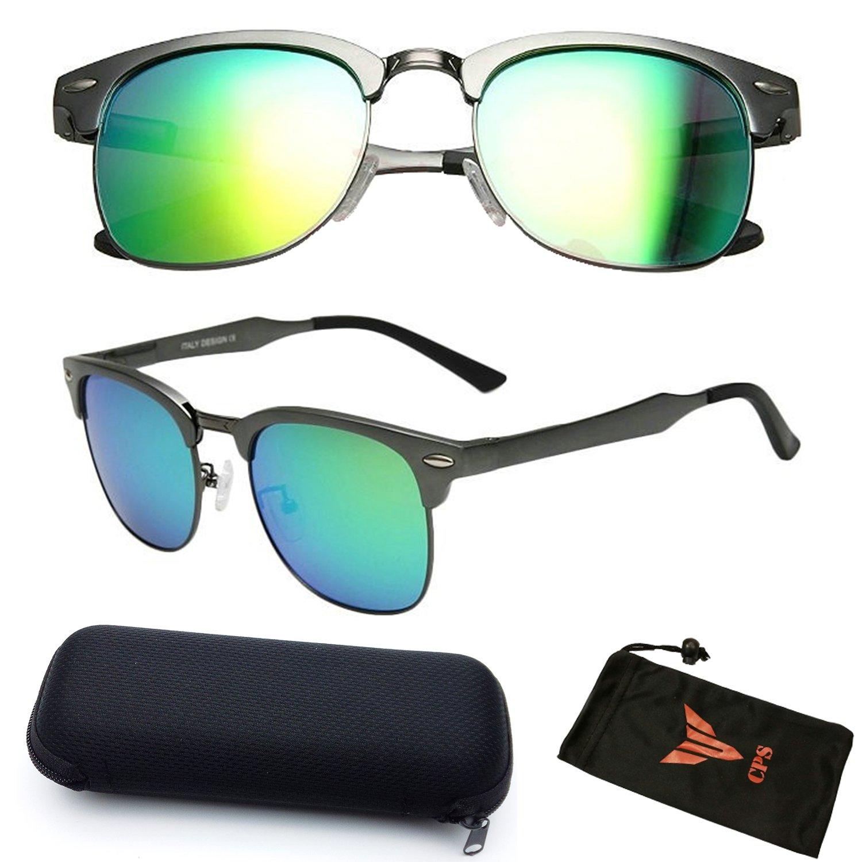 9a25b2c73b3 Amazon.com  1 Pair Horned Rim Classic POLARIZED Lenses Magnesium Alloy  Premium Super Mirror Refective Clubmaster Sunglasses For Men   Women  (Gold)  Clothing