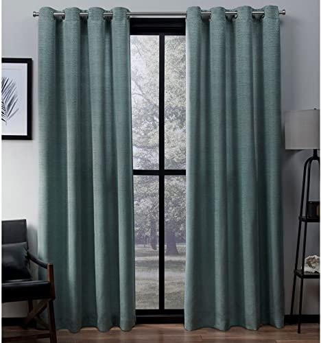 Exclusive Home Curtains Virenze Faux Silk Window Curtain Panel Pair with Grommet Top, 54×108, Marine, 2 Piece