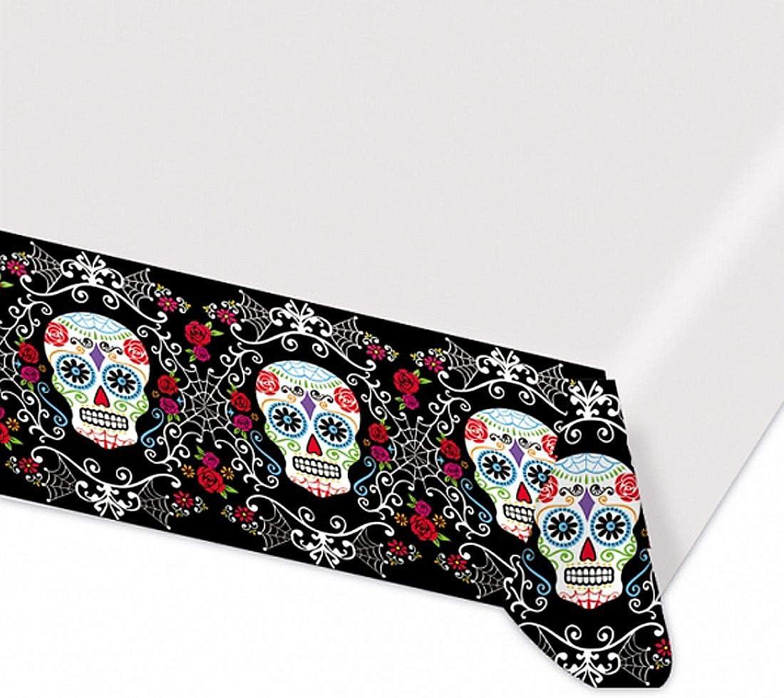 Escalofriante mantel de mesa de plástico día de los muertos - 137x243cm - Misteriosa decoración de fiesta día de los muertos folio de mesa - Insuperable para fiestas terroríficas y fiestas temáticas
