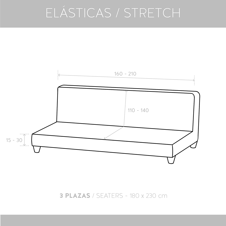 textil-home Funda de Sofá Elástica Clic-clac TEIDE, 3 plazas - Desde 180 a 240 cm. Color Marfil: Amazon.es: Hogar