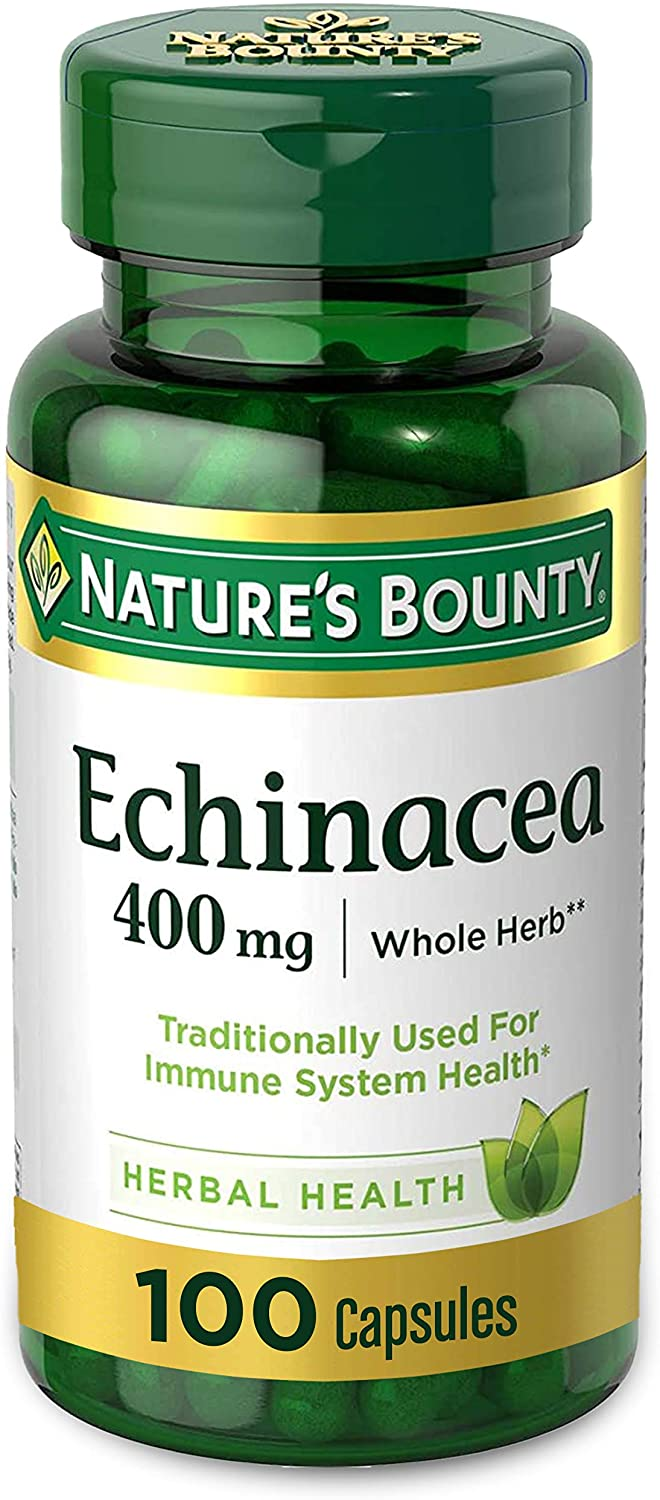 Echinacea by Nature's Bounty, Herbal Supplement, Supports Immune Health, 400mg, 100 Capsules: Health & Personal Care