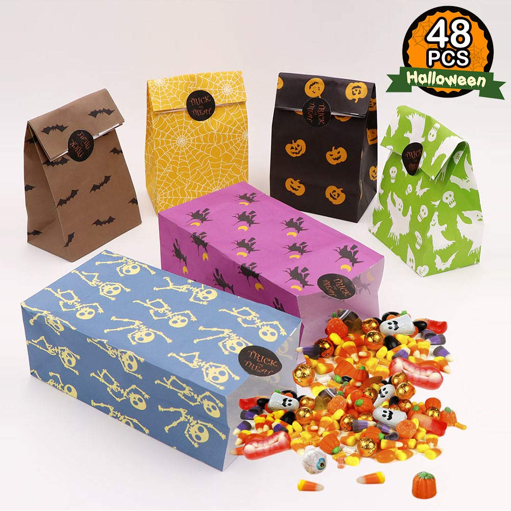 AerWo 48pcs Halloween Treat Bags Paper Gift Bags, Halloween Goody Bags with Trick or Treat Stickers for Halloween Party Decorations Suppliers