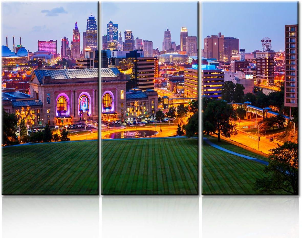 Skyline as Night Falls in Kansas City Wall Art, Downtown Kansas City, Wall Art City Canvas Prints Decor Homes Modern Artwork Office Living Room Decorations Ready to Hang - 28'' x 14'' x 3 panels