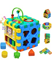 INvench Musical Activity Cube Baby Toys - 6 in 1 Baby Multi-purpose Learning Cube with Music & Light Shape Sorter Activity Centre Early Development Educational Toy for Kids Infant Toddlers