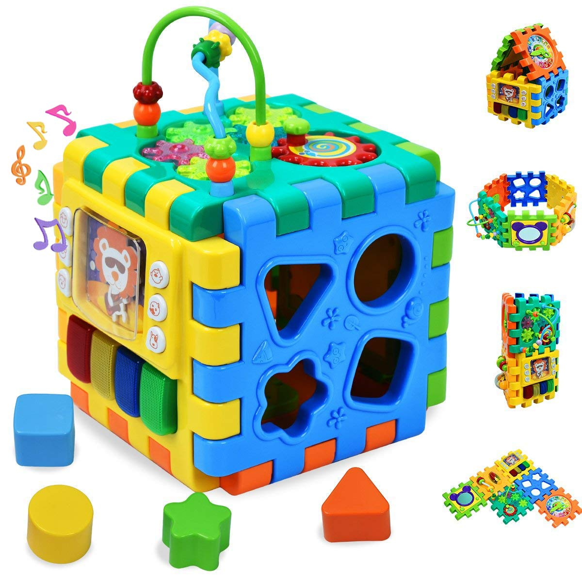 Forstart Activity Cube | 6 in 1 Multipurpose Play Center for Kids Toddlers Shape Color Sorter Beads Maze Time Learning Clock Skill Improvement Educational Game Toys Busy Learner Cube ML-A02GY-BAC-001