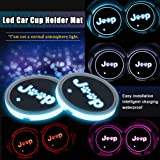 SUNPIE Cup Holder Mats Pads with Dog Paw Paws RGB Lights for Jeep Wrangler JK Unlimited Grand Gherokee Compass Patriot Renegade Commander Accessories Interior Decoration Atmosphere Lamps Light