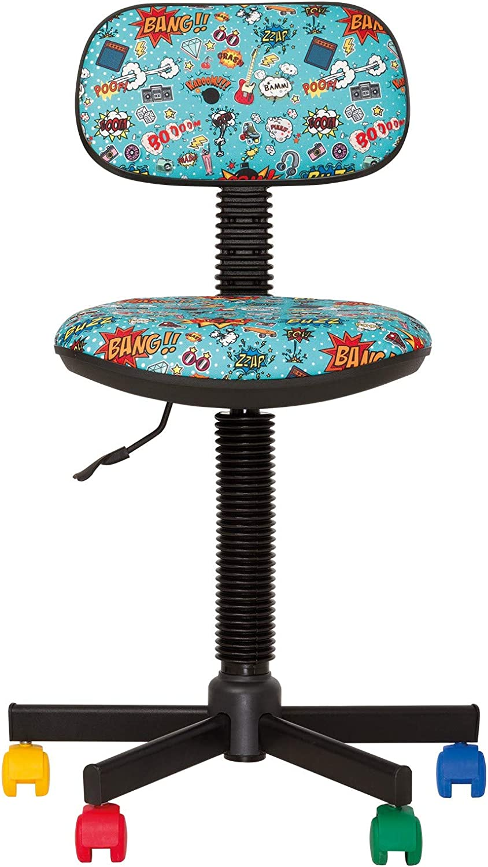 BAMBO- Chaise DE Bureau Enfant Ergonomique Hauteur du SI/ÈGE 42 cm-56 cm Prix Discount. Hauteur Dossier R/ÉGLABLE//PIVOTANT A 360/°// roulettes Multicolores Rose//Fleur