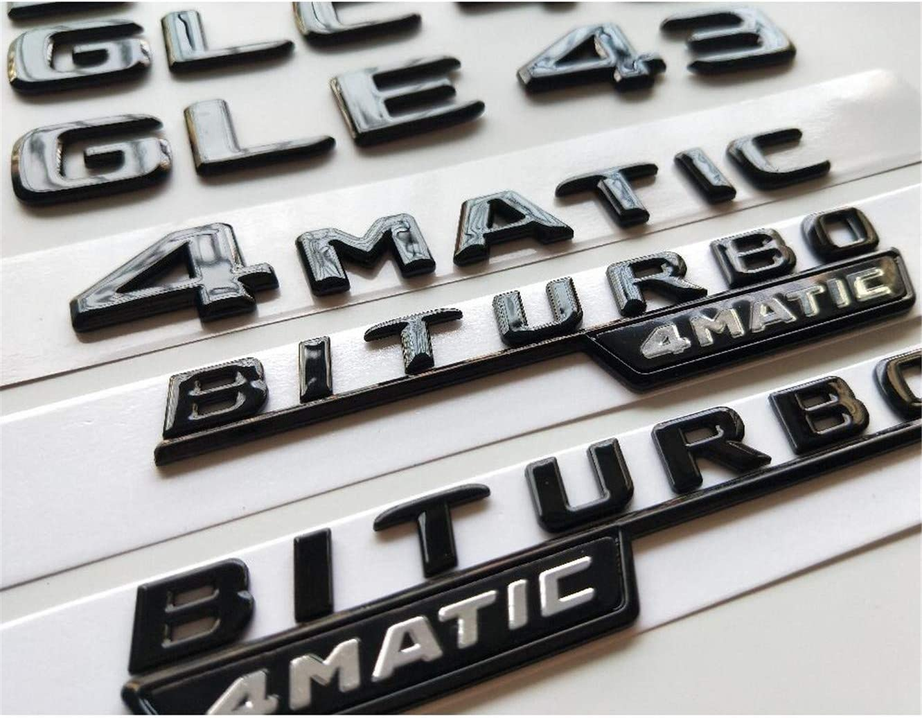 cvnbdfgjhdfjh Gl/änzend Schwarz Fender Emblem Badge W205 C43 W213 E43 X253 GLC43 GLE43 AMG BITURBO 4 Matic
