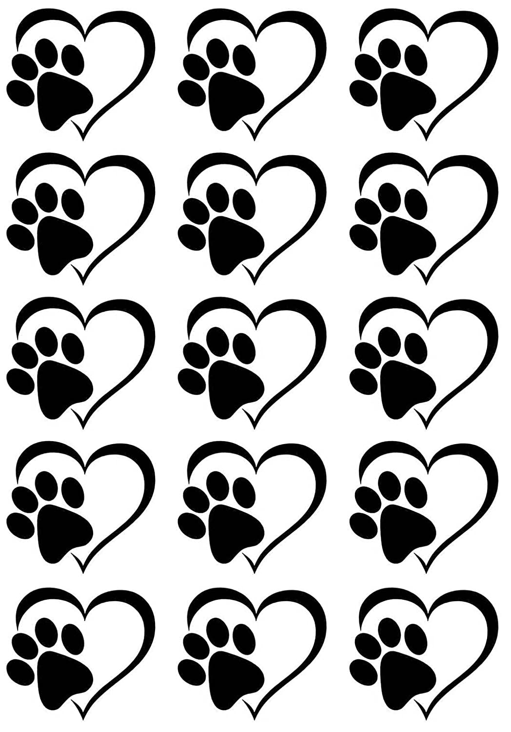 Heart Dog Cat Paw Print Black 17CC795 Fused Glass Decals Captive Decals