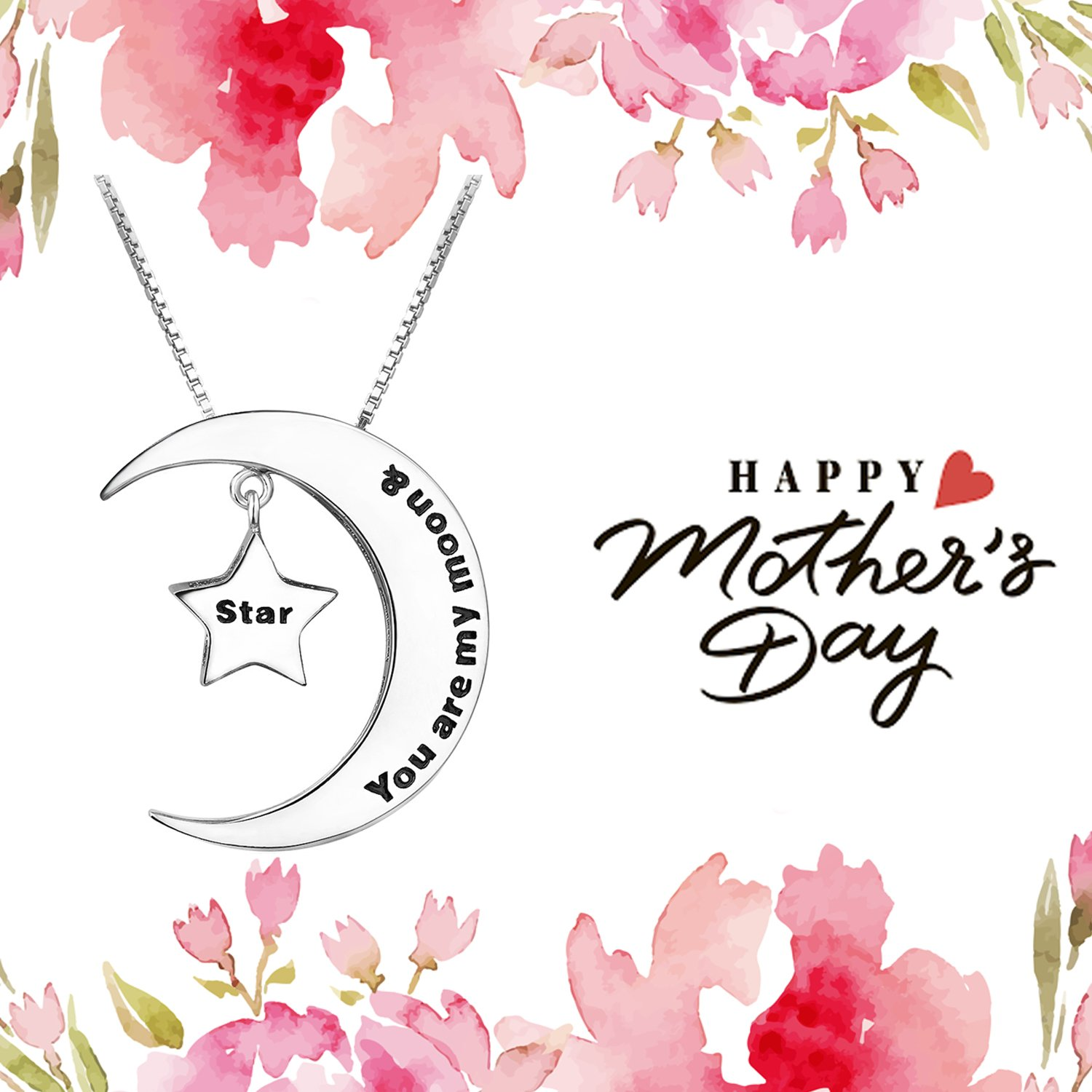 4cfd18060 Amazon.com: Mom and Daughter Necklace Sterling Silver Moon and Star Pendant  Necklace Engrave You are my Moon and Star Jewelry Gift for Mother Grandma:  ...