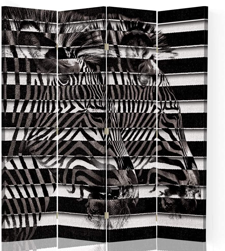 F FEEBY WALL DECOR Biombo Decorativo Cebras 4 Paneles 360° Rayas Blanco y Negro 145x175 cm: Amazon.es: Hogar