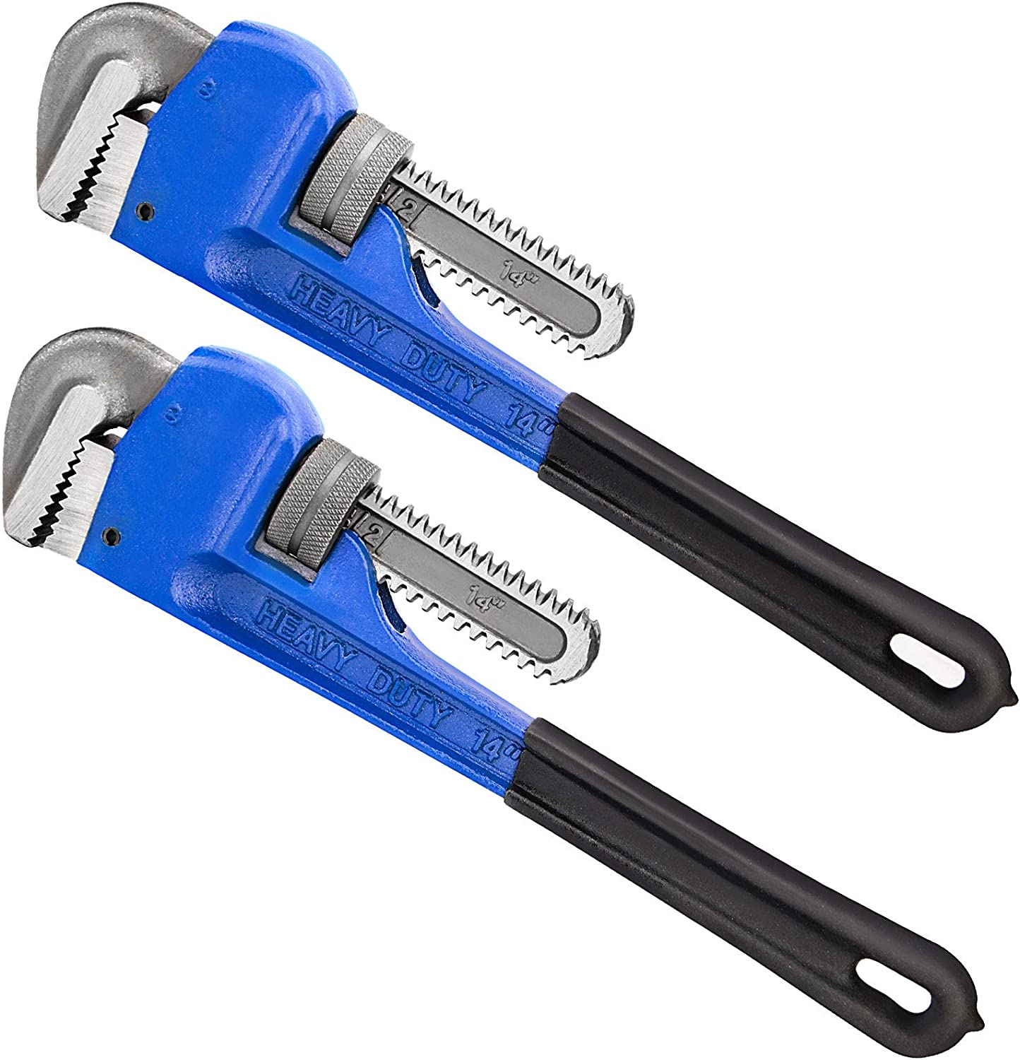 ZOENHOU 14 Inch 2 PCS Heavy Duty Pipe Wrenches Set Adjustable Straight Pipe Wrench for Plumbers Heat Treated Spanner Soft Grip Plumbing Wrench