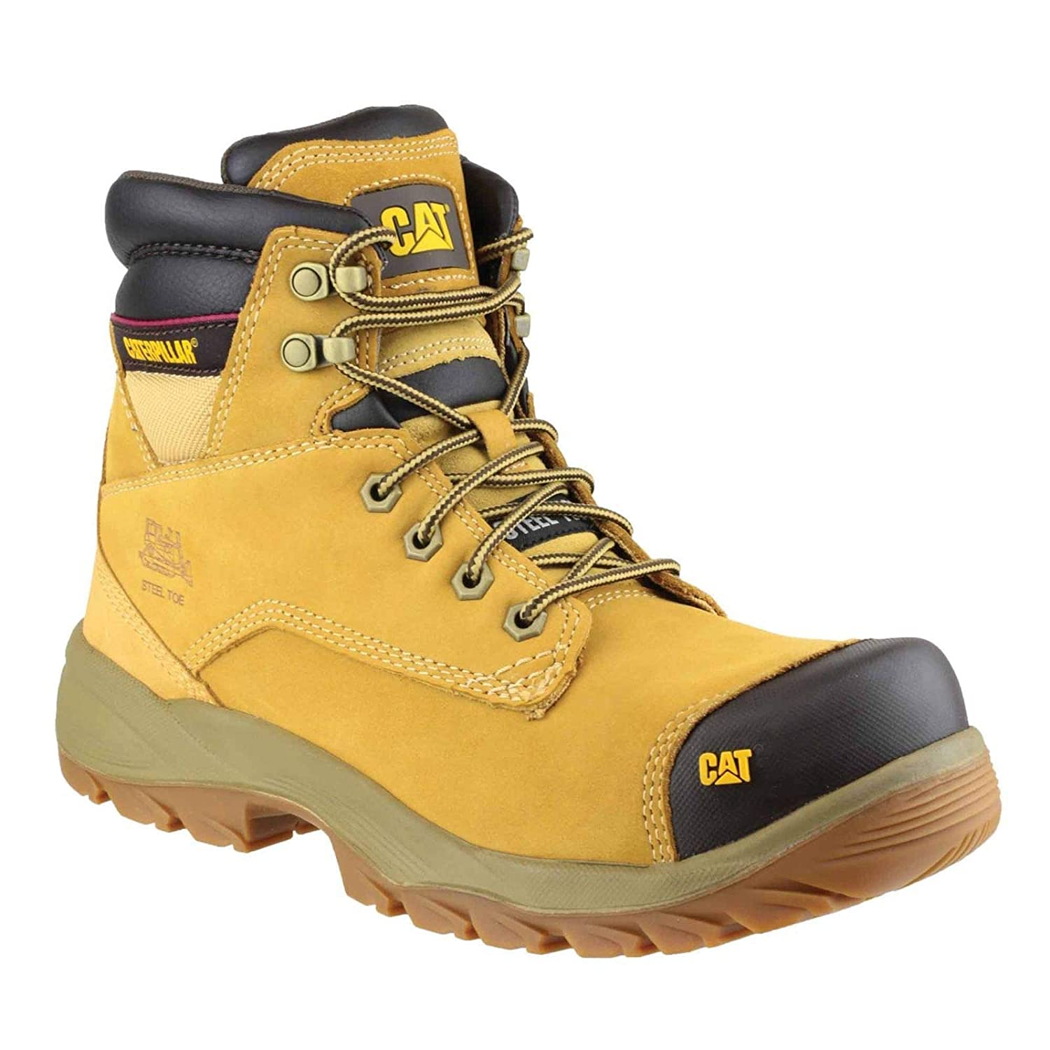 New FREE SHIPPING Various Sizes Cat Spiro Safety Work Boots Honey Colour