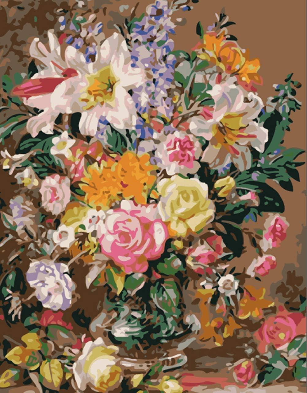 Rose enchant/ée Roses en verre 16 x 20 cm Peinture par num/éros pour adultes et enfants Art th/érapie Girl Cadre en bois.