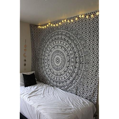 Bon RawyalCrafts Elephant In Mandala Hippie Bohemian Intricate Gypsy Indian  Magical Thinking Tapestry Wall Hanging, Boho