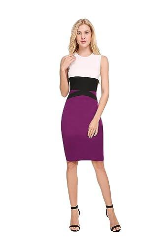 CerisiaAnn Women's O-Neck Pencil Dress Slim Midi Office Lady Formal Wear