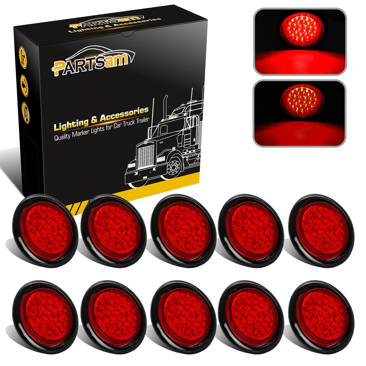 Partsam 10pcs 4' Red 30 LED Truck Trailer Round Stop Turn Tail Light Marker with Grommet & Wiring, for RV Jeep Trucks Pickups Red Led Flush Mounted Sealed Turn Signal Lights Taillights