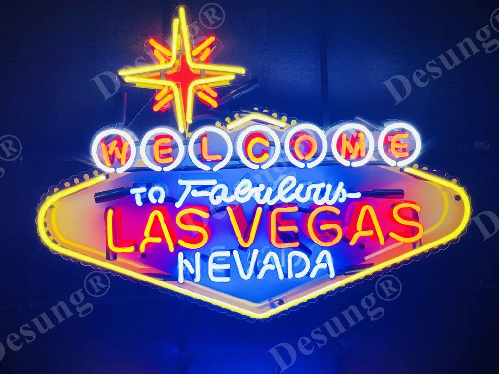 "Desung 24""x20"" Welcome to Fabulous Las Vegas Nevada Neon Sign Light Lamp HD  Vivid Printing Technology Handmade Beer Bar Pub Man Cave HD12 - - Amazon.com"