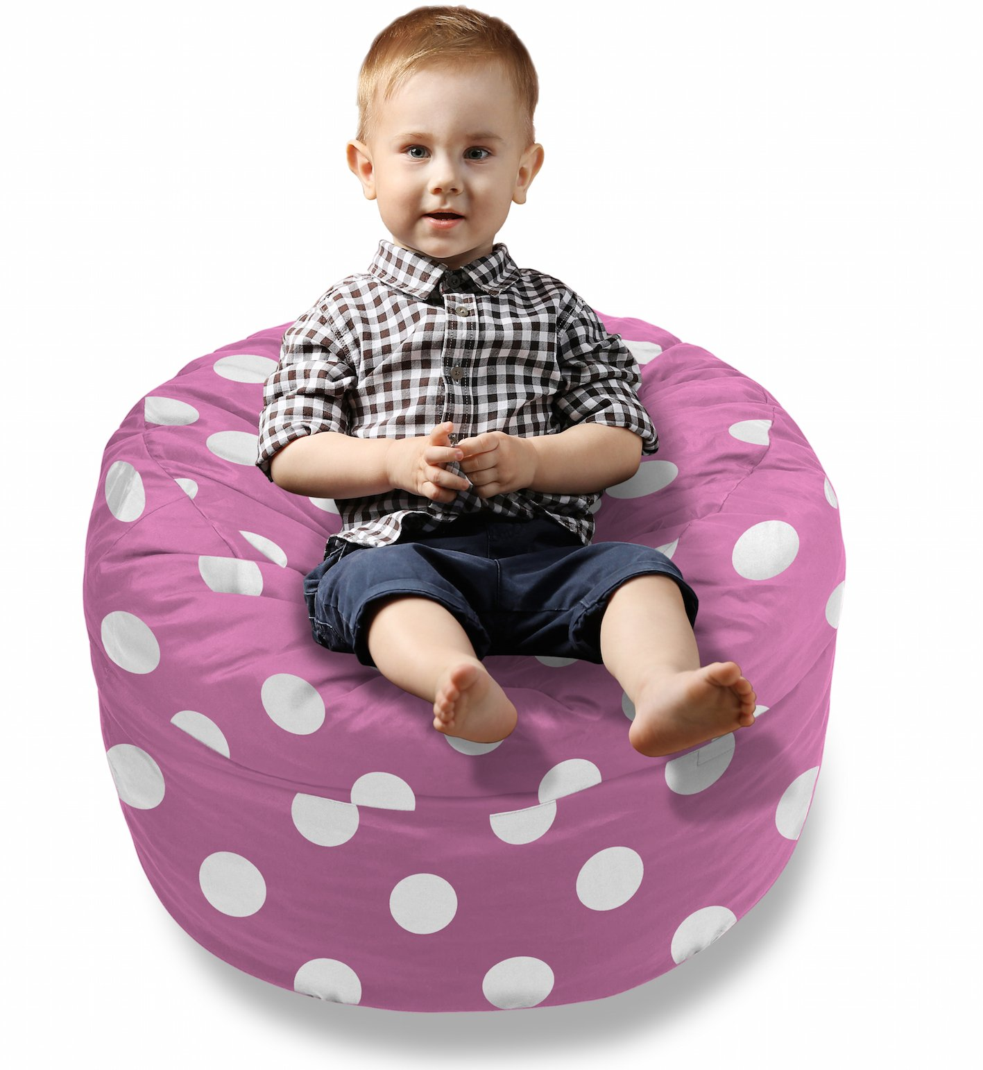 BeanBob Bean Bag Chair Cushion (Pink w/Polka Dots) 2ft - Bedroom Sitting Sack for Toddlers & Small Children w/Super Soft Foam Filling by BeanBob