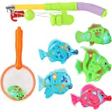 Liberty Imports Magnetic Light Up Fishing Bath Toy Set for Kids - Rod & Reel with Turtle and 5 Unique Fish