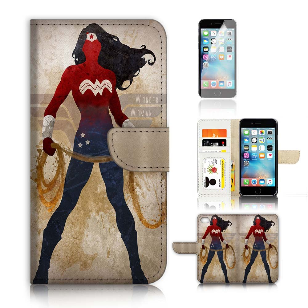 outlet ( For iPhone 6 Plus 5.5' / iPhone 6S Plus 5.5') Flip Wallet Case Cover and Screen Protector Bundle A20308 Wonder Woman Super Hero