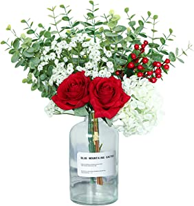 Nubry Artificial Flowers with Vase Fake Silk Rose Eucalyptus Leaves Babies Breath Arrangements in Glass Vase Ins Style Faux Desk Flowers for Office Home Party Decor (Red)