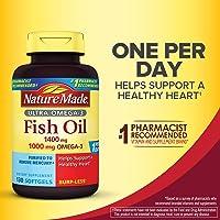 Nature Made Ultra Omega-3 Burpless Fish Oil 1400 mg Softgels w. Omega 3 1000 mg 130 Ct