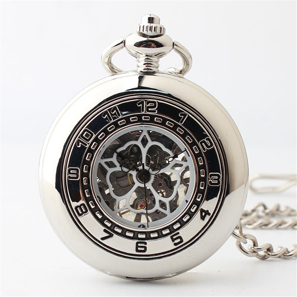 Zxcvlina Classic Smooth Boutique Hollow Unisex Pocket Watch Retro Mechanical Pocket Watch with Chain Suitable for Gift Giving
