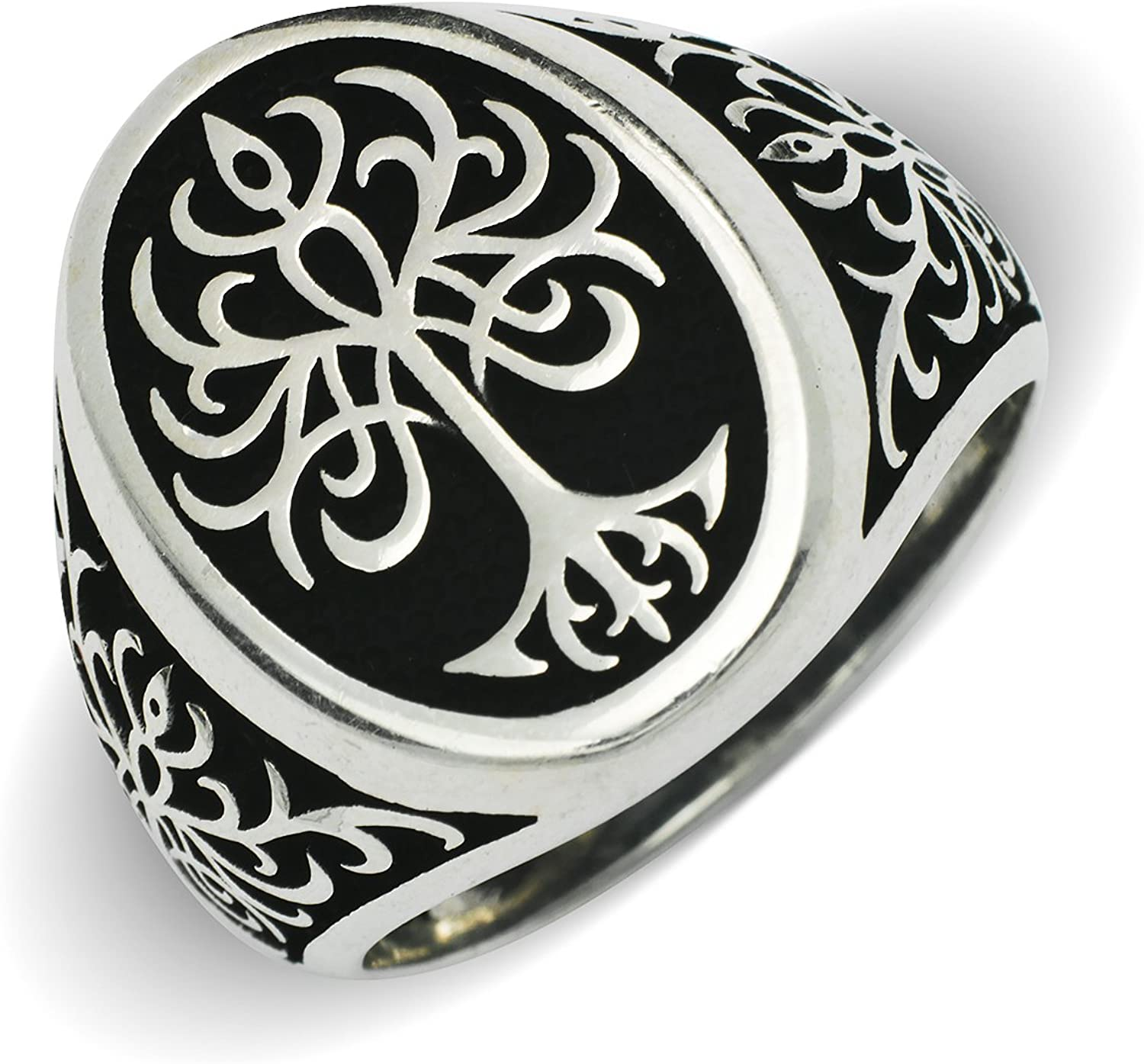 Round Tree of Life Silver Ring-925 Sterling Silver Ring-Oxidized