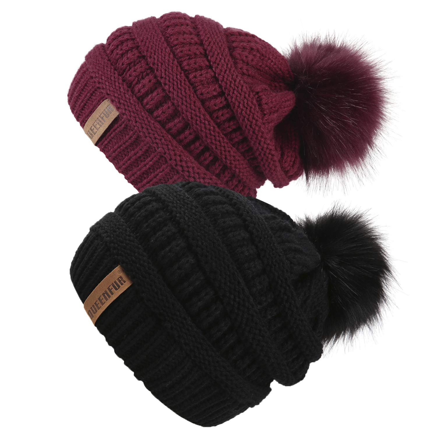 QUEENFUR Women Knit Slouchy Beanie Chunky Baggy Hat with Faux Fur Pompom Winter Soft Warm Ski Cap (2 Pcs Black/Burgundy)