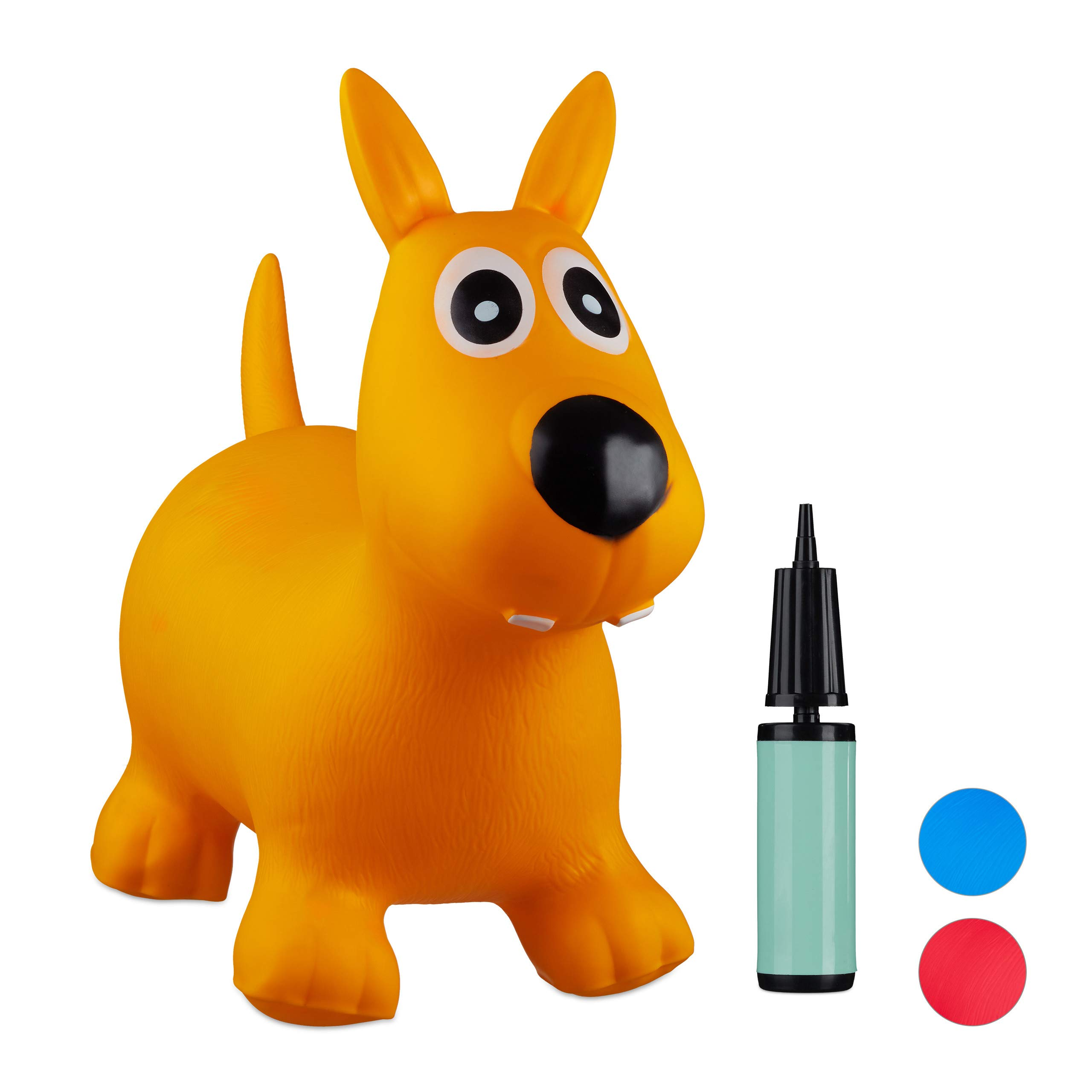 Relaxdays 10024990_48 Hopping Dog, Air Pump Included, Up to 50 kg, BPA-Free, Space Hopper, Yellow, H x W x D: app. 50 x 26 x 60 cm