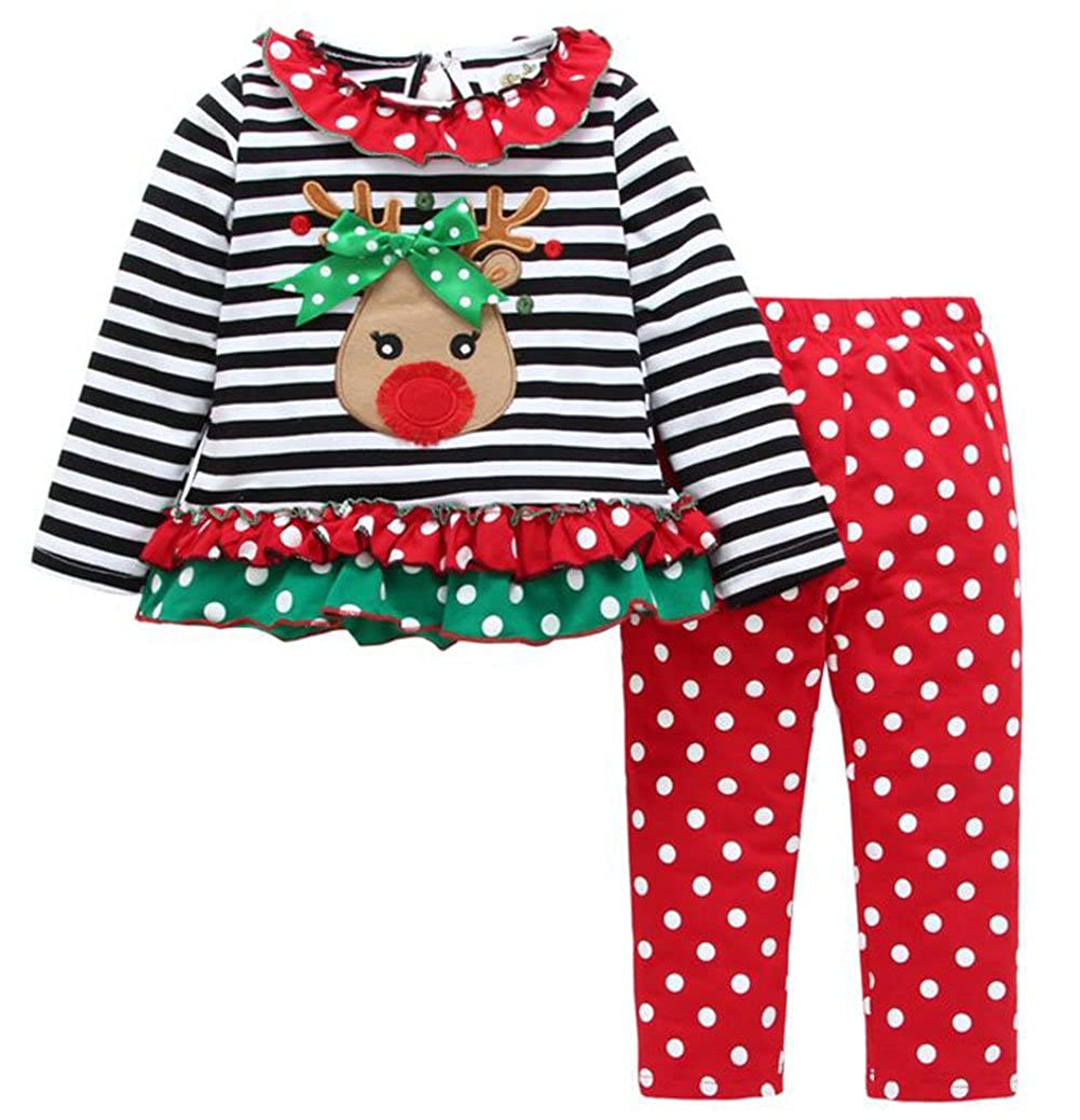 SUPEYA Toddler Baby Girls Deer Striped Tops+Dot Pants Dress Christmas Outfits Set