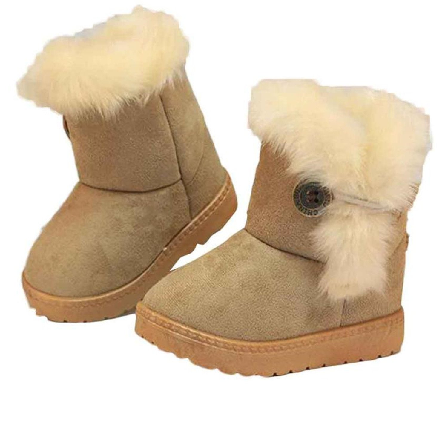 Amazon.com | Baqijian Kids Shoes Winter Warm Ankle Boy Girls Boots Rubber Toddler Booties Khaki Pink Snow Boot | Boots