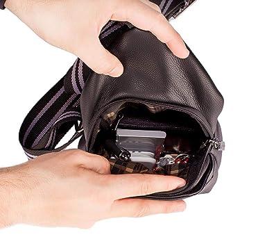 a9035824c Mini mochila transversal de couro masculina Jeff preta: Amazon.com.br:  Amazon Moda