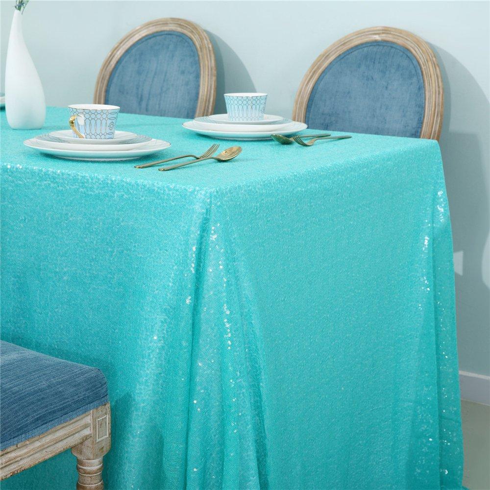 Zdada 60''x102'' Aqua Green Sequin Wedding Party Home Tablecloth,Mint Sequin Tablecloth For Events