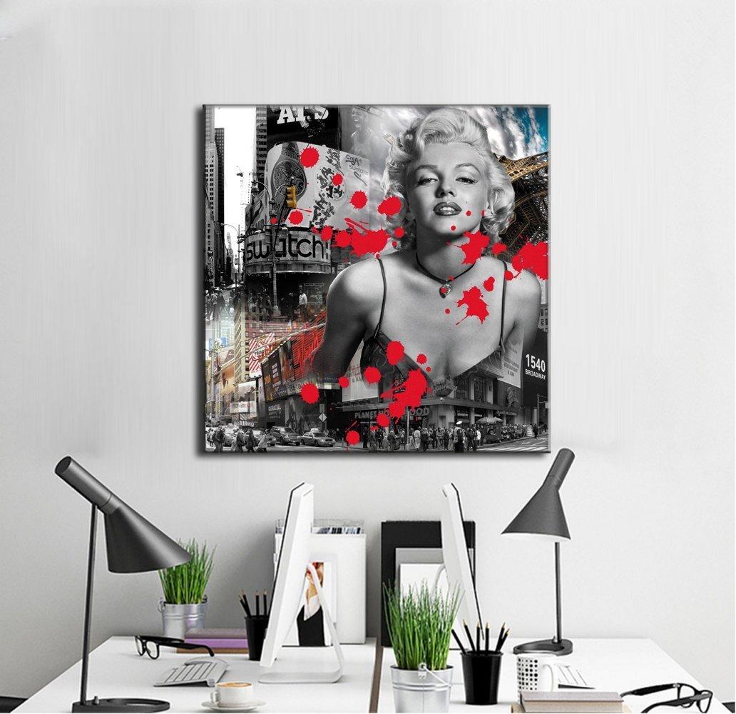 キャンバスに、セクシーなマリリン モンローがプリントがされたウォールアート 白黒印刷画 リビングルームの装飾用 フレーム入り 40x40cm B00W1RZFVO 40x40cm|P2 P2 40x40cm