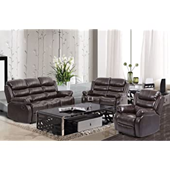 BestMassage Living Room Sofa Set Recliner Sofa Reclining Couch Home Theater  Seating Sofa Chair Leather Loveseat