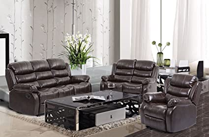 BestMassage Living Room Sofa Set Recliner Sofa Reclining Couch Home Theater Seating Sofa Chair Leather Loveseat 3 Seater Manual Recliner Motion for ...