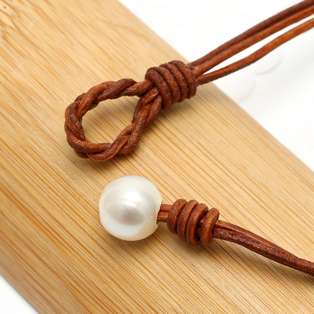 ShengSheng Long Strand Cultured Pearl Pendant Necklaces Genuine Leather Jewelry by PEARLADA (Image #4)