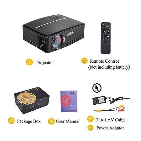Amazon.com: Ohderii Projector, Mini Projector 1800 Lumens ...