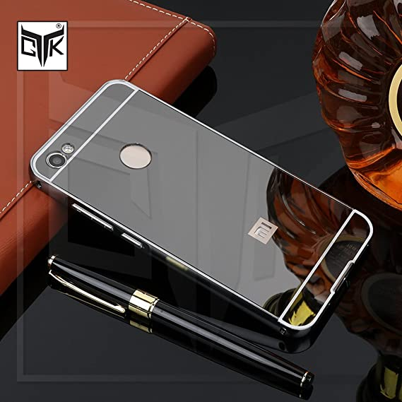 hot sale online 52472 82c59 TheGiftKart Redmi Y1 Back Case Cover: Electroplated Mirror Back Cover with  Metal Bumper (Graphite Black)