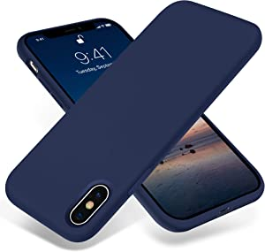 JELE iPhone X Case,Silicone Shockproof Case Compatible with iPhone X Case Full-Body Protective Phone Case Slim Thin Cover Anti-Scratch Shockproof Bumper Case for Apple iPhone X & iPhone Xs (Navy Blue)