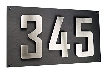 Número de casa/casa escudo + tres dígitos acero inoxidable ...