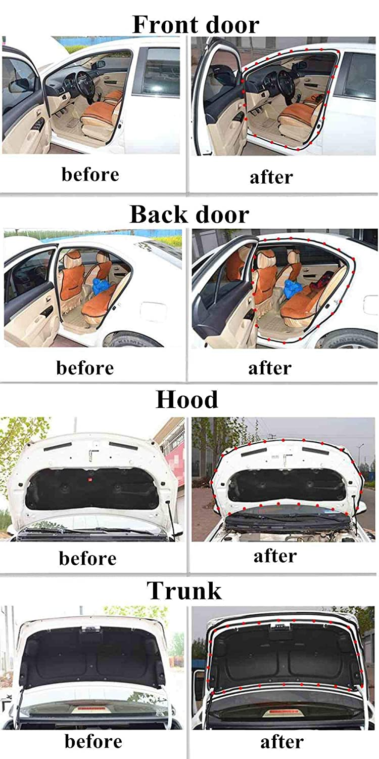 SUNMORN Car Weather Stripping with Adhesion Promotor Total 33Ft Self Adhesive Universal Automotive Door Rubber Weather Draft Seal Strip for Car Window Front Door Back Door Hood Trunk B Type