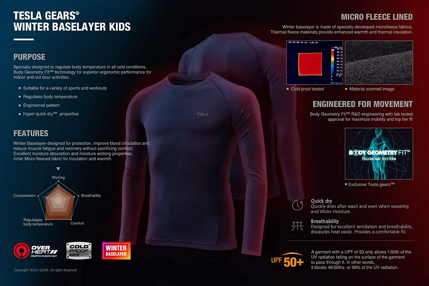 TSLA Kids Thermal Long Sleeve Tops Crew Neck Fleece Lined Compression Base Layer Shirts