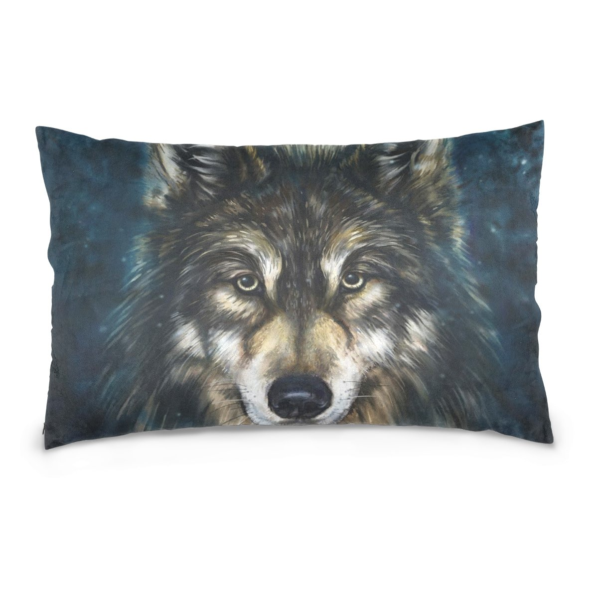 THENAHOME Pillow Covers Pillow Protectors Bed Bug Dust Mite Resistant Standard Pillow Cases Cotton Sateen Allergy Proof Soft Quality Covers with Wild Animal Art Wolf for Bedding